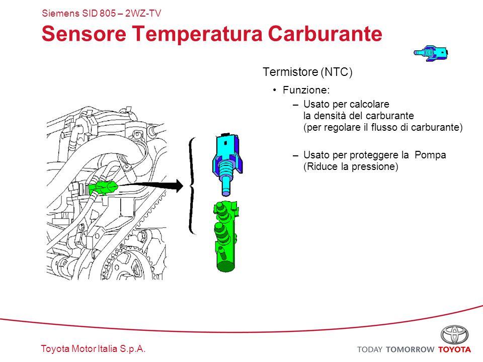 Toyota Motor Italia S.p.A. Sensore Temperatura Carburante Termistore (NTC) Funzione: –Usato per calcolare la densità del carburante (per regolare il f