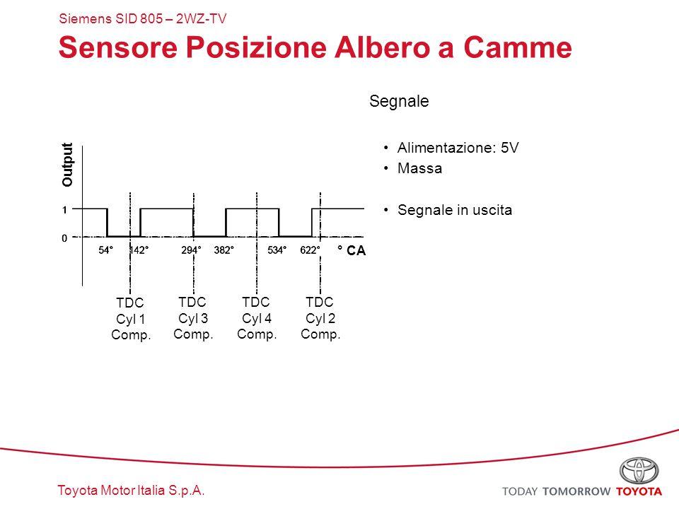 Toyota Motor Italia S.p.A. Sensore Posizione Albero a Camme Segnale Alimentazione: 5V Massa Segnale in uscita TDC Cyl 1 Comp. TDC Cyl 3 Comp. TDC Cyl