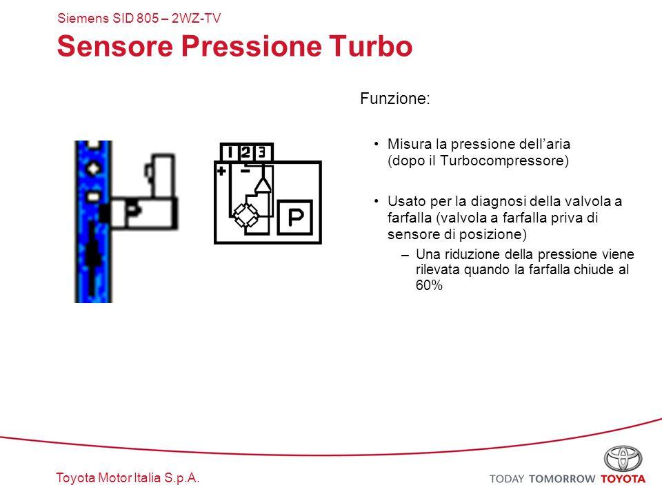 Toyota Motor Italia S.p.A. Siemens SID 805 – 2WZ-TV Sensore Pressione Turbo Funzione: Misura la pressione dell'aria (dopo il Turbocompressore) Usato p