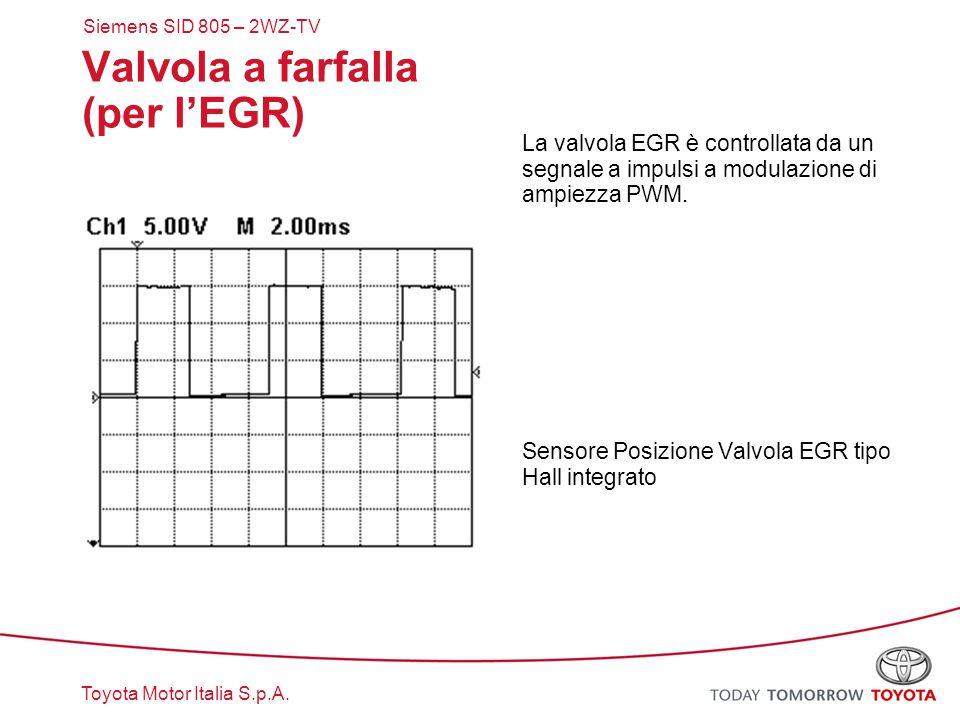 Toyota Motor Italia S.p.A. Valvola a farfalla (per l'EGR) La valvola EGR è controllata da un segnale a impulsi a modulazione di ampiezza PWM. Sensore
