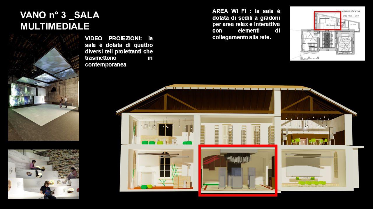 VANO n° 3 _SALA MULTIMEDIALE VIDEO PROIEZIONI: la sala è dotata di quattro diversi teli proiettanti che trasmettono in contemporanea AREA WI FI : la sala è dotata di sedili a gradoni per area relax e interattiva con elementi di collegamento alla rete.