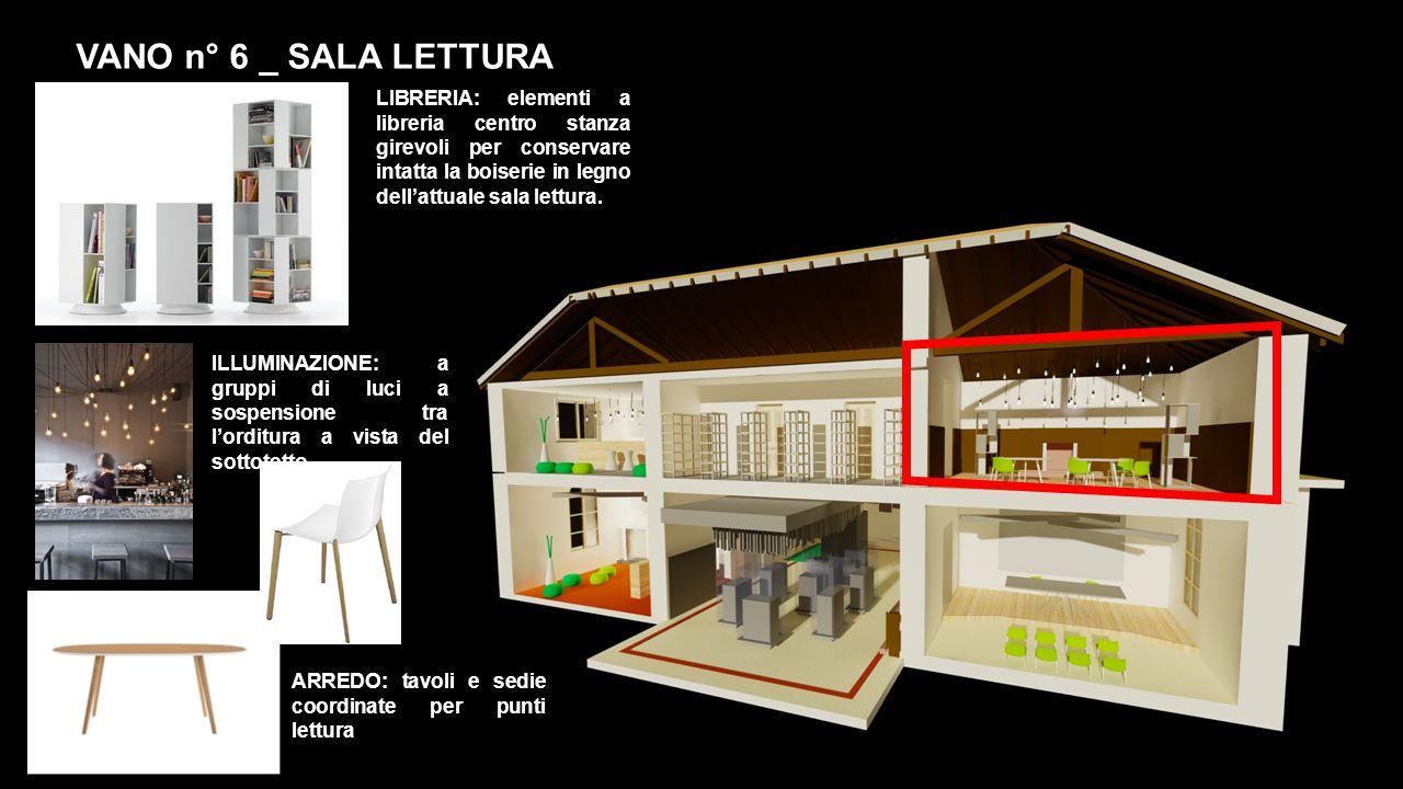 VANO n° 6 _ SALA LETTURA LIBRERIA: elementi a libreria centro stanza girevoli per conservare intatta la boiserie in legno dell'attuale sala lettura.