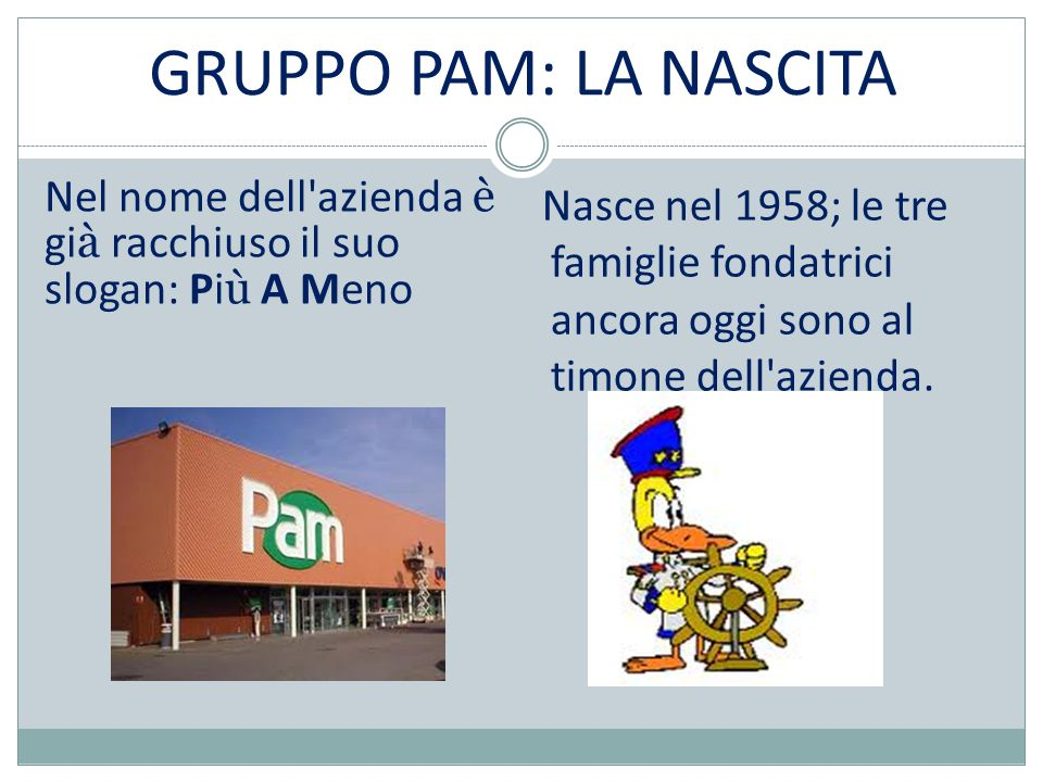 GRUPPO PAM: LA NASCITA Nel nome dell azienda è gi à racchiuso il suo slogan: Pi ù A Meno Nasce nel 1958; le tre famiglie fondatrici ancora oggi sono al timone dell azienda.