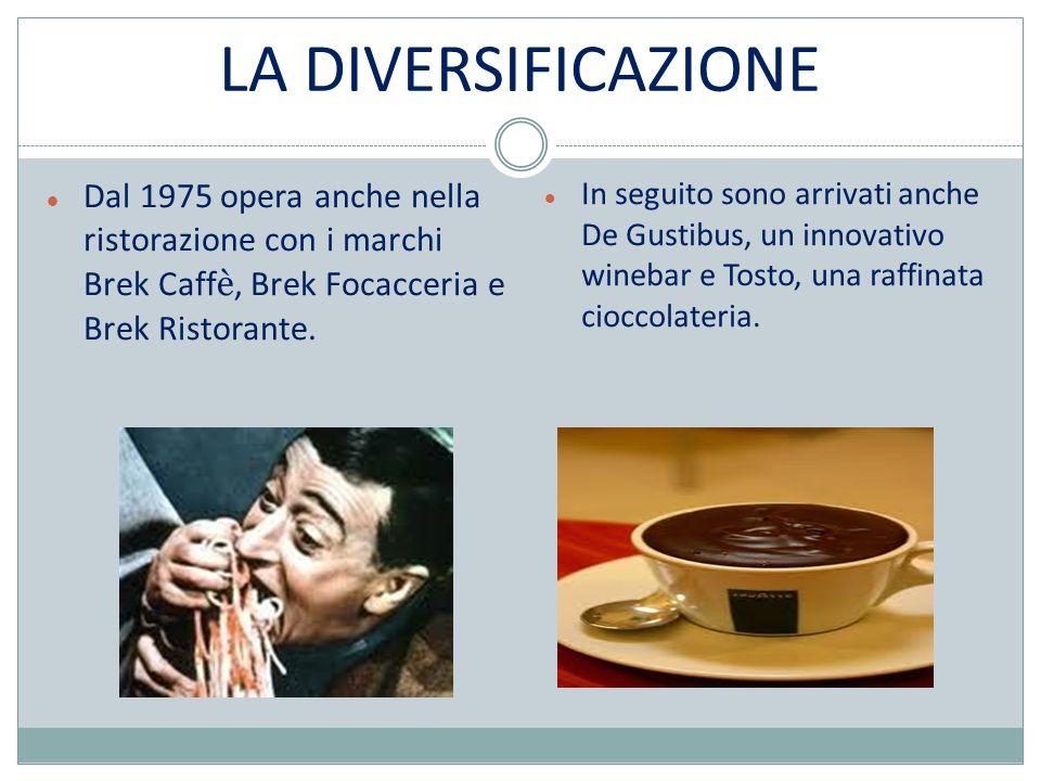 LA DIVERSIFICAZIONE Dal 1975 opera anche nella ristorazione con i marchi Brek Caff è, Brek Focacceria e Brek Ristorante.