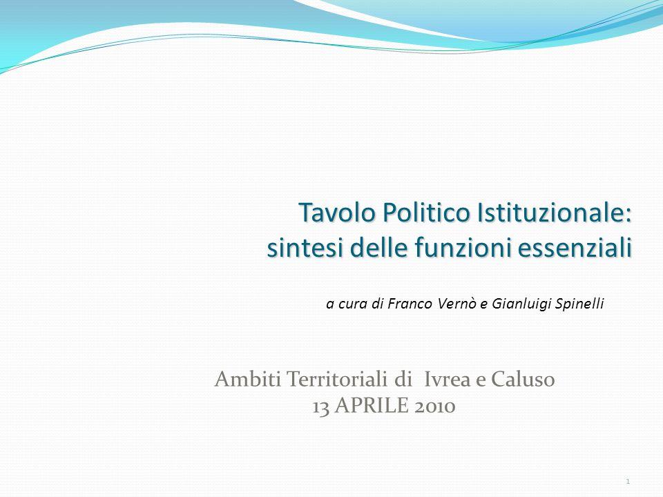 1 Tavolo Politico Istituzionale: sintesi delle funzioni essenziali Ambiti Territoriali di Ivrea e Caluso 13 APRILE 2010 a cura di Franco Vernò e Gianluigi Spinelli