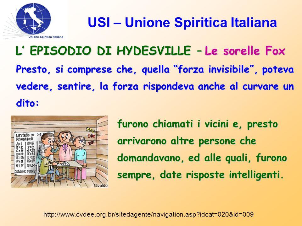"""USI – Unione Spiritica Italiana L' EPISODIO DI HYDESVILLE – Le sorelle Fox Presto, si comprese che, quella """"forza invisibile"""", poteva vedere, sentire,"""