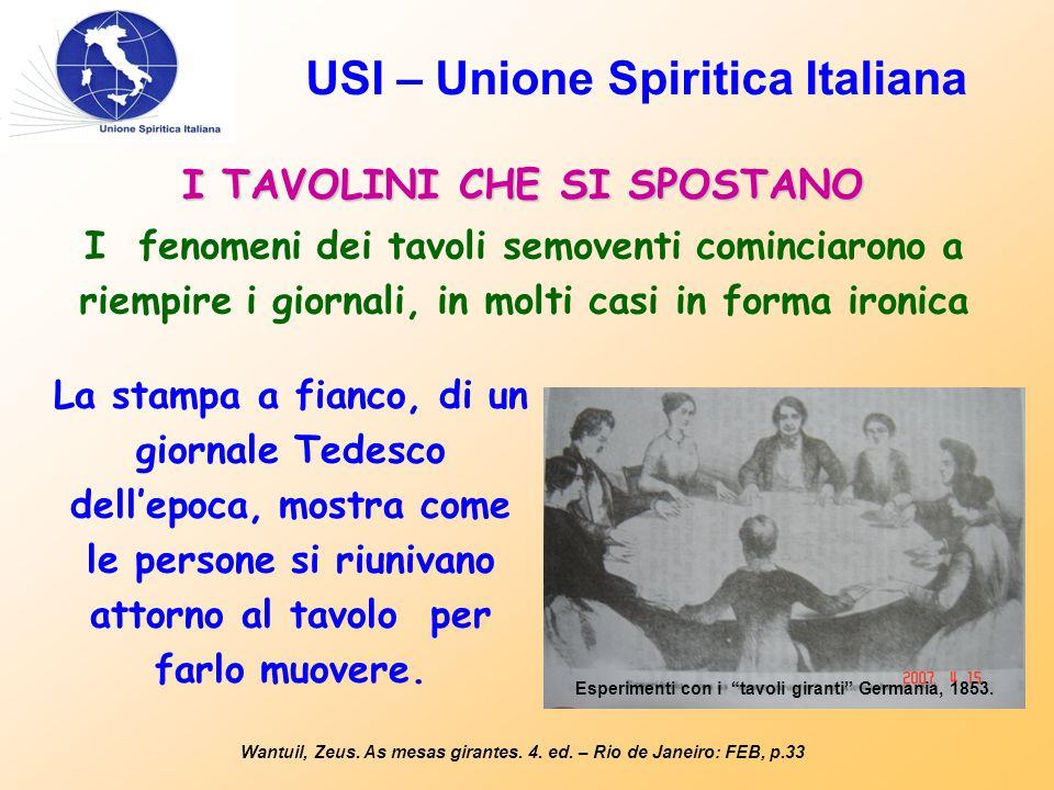USI – Unione Spiritica Italiana I TAVOLINI CHE SI SPOSTANO Wantuil, Zeus. As mesas girantes. 4. ed. – Rio de Janeiro: FEB, p.33 I fenomeni dei tavoli