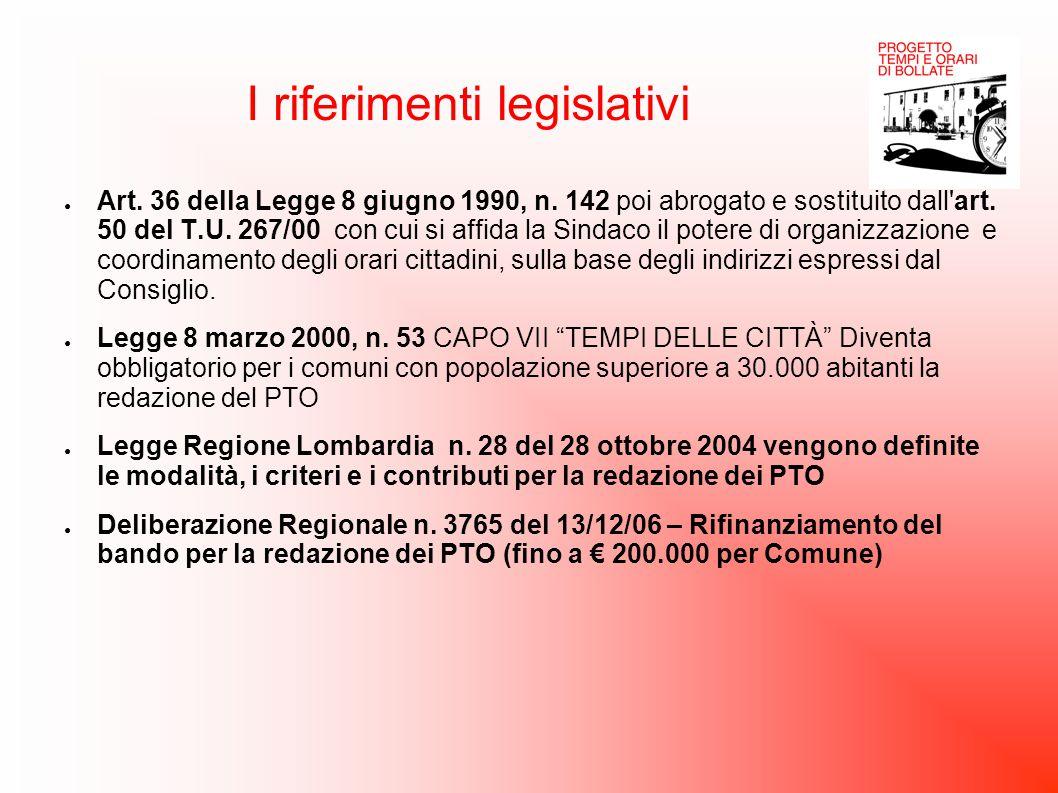 I riferimenti legislativi ● Art. 36 della Legge 8 giugno 1990, n. 142 poi abrogato e sostituito dall'art. 50 del T.U. 267/00 con cui si affida la Sind