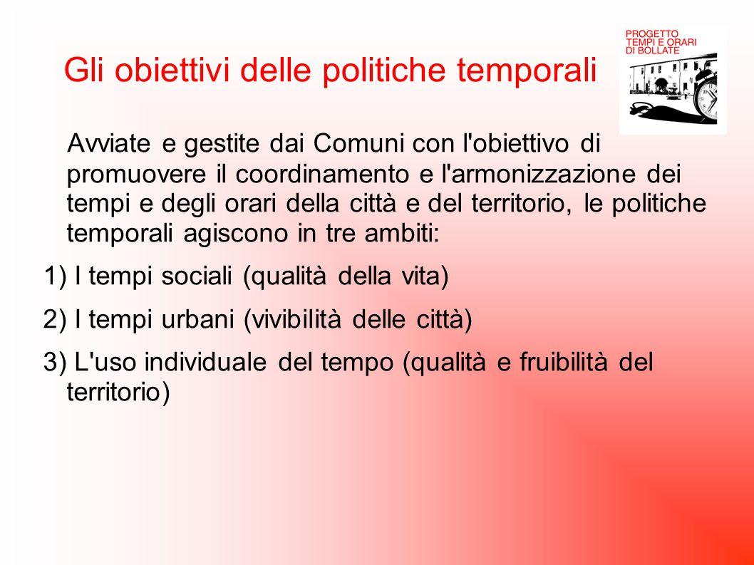 Gli obiettivi delle politiche temporali Avviate e gestite dai Comuni con l'obiettivo di promuovere il coordinamento e l'armonizzazione dei tempi e deg