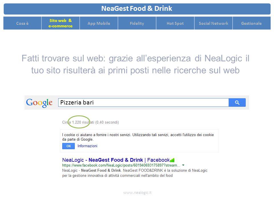 Grafica personalizzata accattivante per promuovere al meglio il tuo locale www.nealogic.it NeaGest Food & Drink Cosa è Sito web & e-commerce App MobileFidelityHot SpotSocial NetworkGestionale