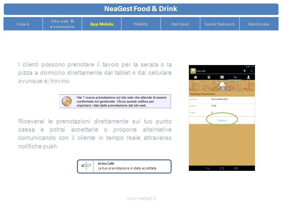 Aggiorna i contenuti delle tue App Mobile e pubblica il tuo menu con pochi click www.nealogic.it NeaGest Food & Drink Cosa è Sito web & e-commerce App MobileFidelityHot SpotSocial NetworkGestionale Potrai effettuare campagne di marketing mirate e raggiungere i tuoi clienti attraverso canali di comunicazione veloci e innovativi I clienti potranno registrarsi dall'App Mobile per accedere a servizi innovativi I loro dati saranno disponibili in tempo reale su NeaGest per avviare campagne di marketing di sicuro successo Artes Cafè Questa sera offriamo da bere