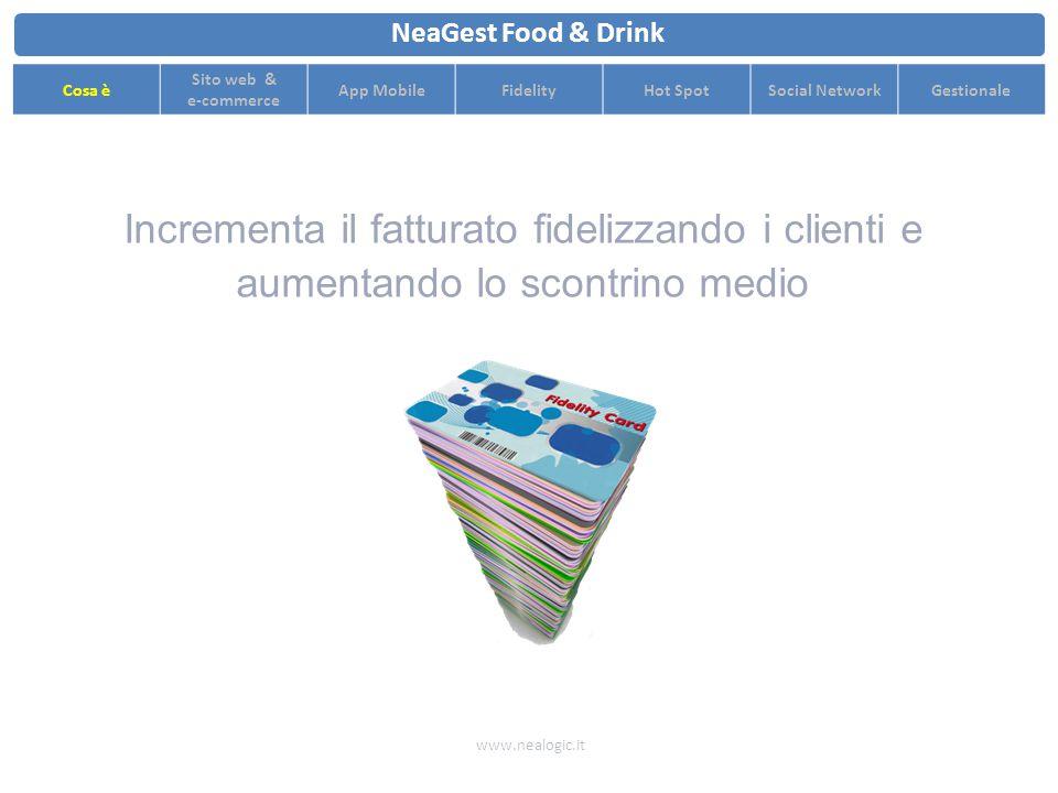 Incrementa il fatturato fidelizzando i clienti e aumentando lo scontrino medio www.nealogic.it NeaGest Food & Drink Cosa è Sito web & e-commerce App MobileFidelityHot SpotSocial NetworkGestionale