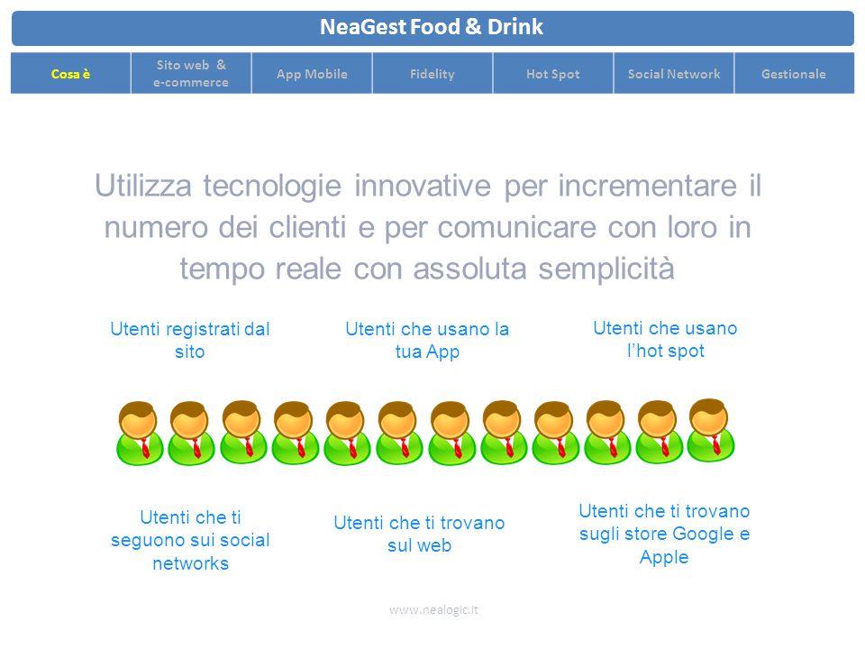 Ottimizza il flusso di clienti con strategie di pricing dinamiche e comunicazione in tempo reale www.nealogic.it NeaGest Food & Drink Cosa è Sito web & e-commerce App MobileFidelityHot SpotSocial NetworkGestionale