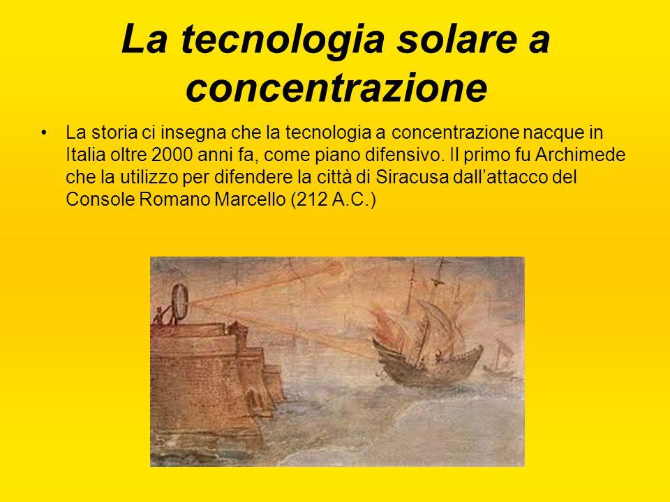 La tecnologia solare a concentrazione La storia ci insegna che la tecnologia a concentrazione nacque in Italia oltre 2000 anni fa, come piano difensiv