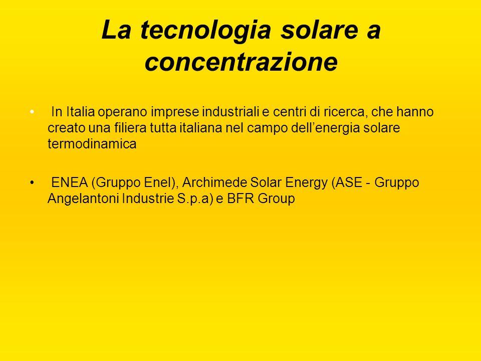La tecnologia solare a concentrazione In Italia operano imprese industriali e centri di ricerca, che hanno creato una filiera tutta italiana nel campo