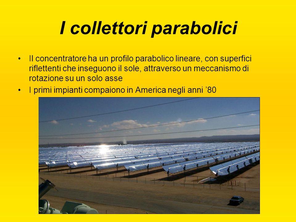 I collettori parabolici Il concentratore ha un profilo parabolico lineare, con superfici riflettenti che inseguono il sole, attraverso un meccanismo d