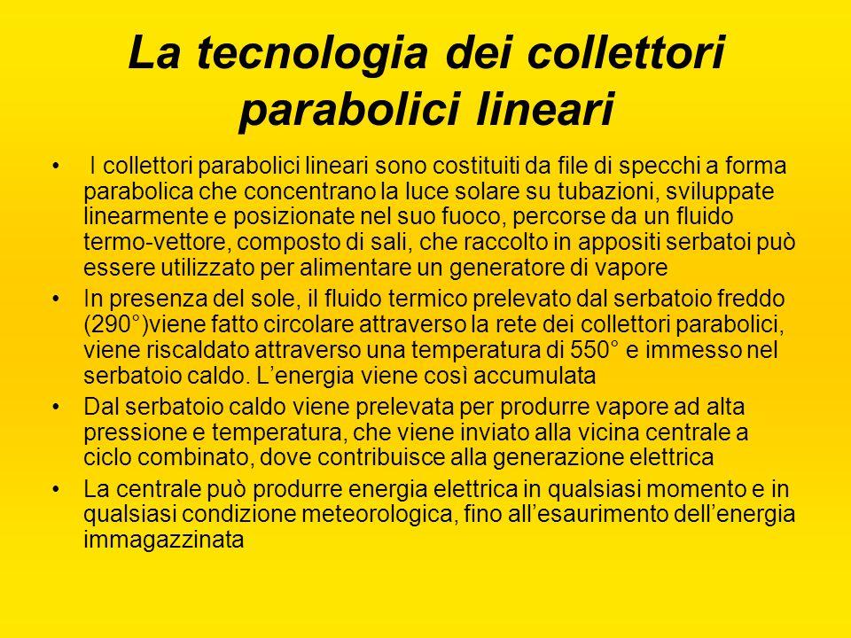 I collettori parabolici lineari sono costituiti da file di specchi a forma parabolica che concentrano la luce solare su tubazioni, sviluppate linearme