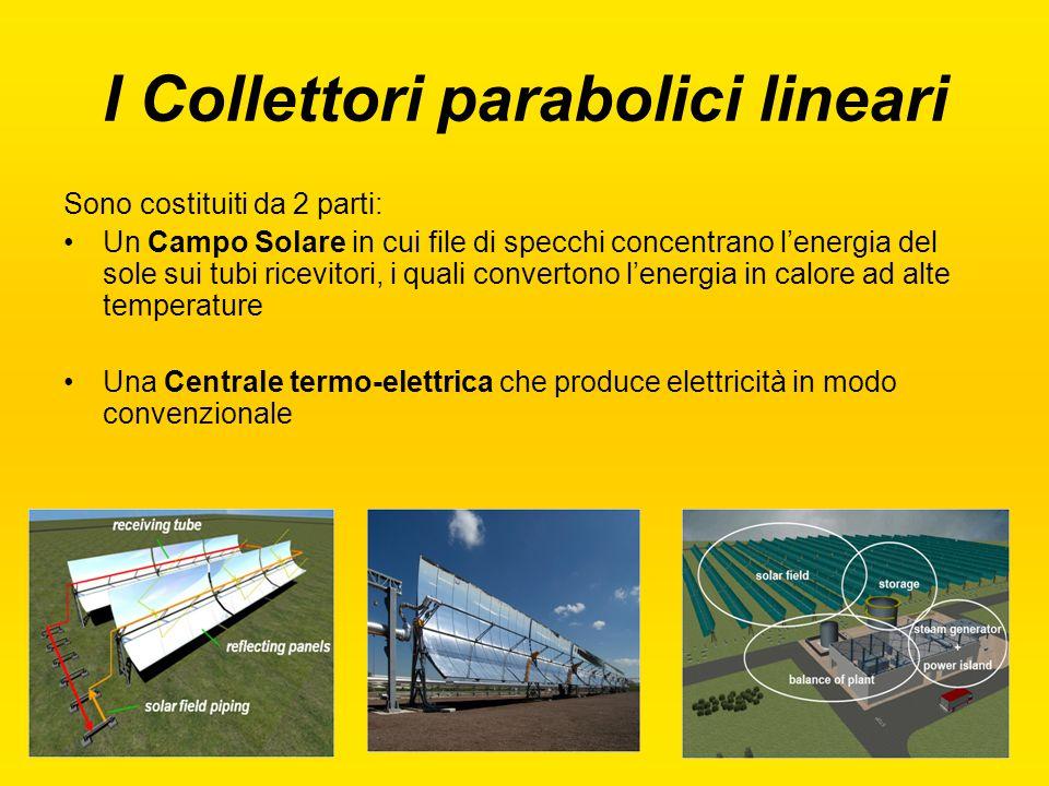 I Collettori parabolici lineari Sono costituiti da 2 parti: Un Campo Solare in cui file di specchi concentrano l'energia del sole sui tubi ricevitori,
