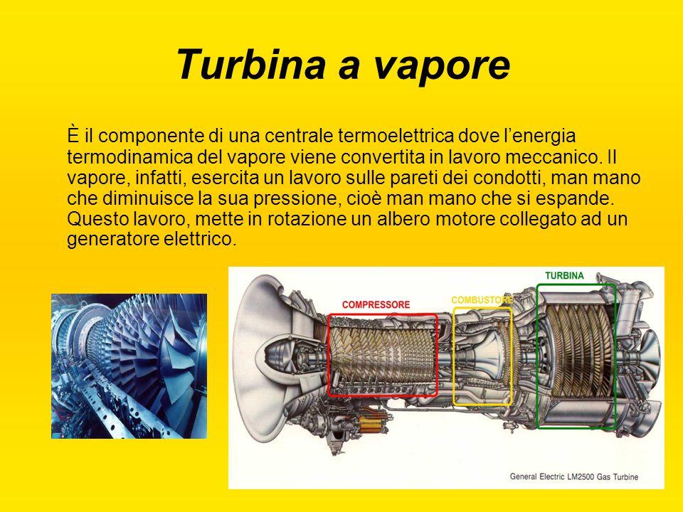 Turbina a vapore È il componente di una centrale termoelettrica dove l'energia termodinamica del vapore viene convertita in lavoro meccanico. Il vapor