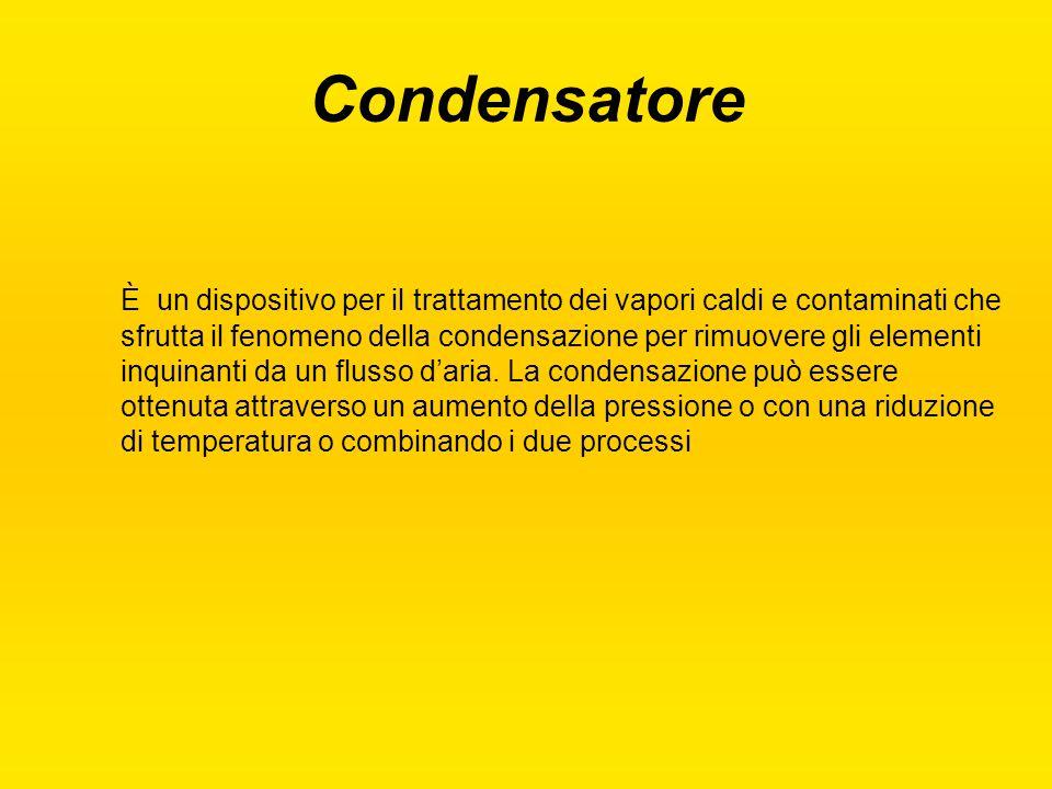 Condensatore È un dispositivo per il trattamento dei vapori caldi e contaminati che sfrutta il fenomeno della condensazione per rimuovere gli elementi