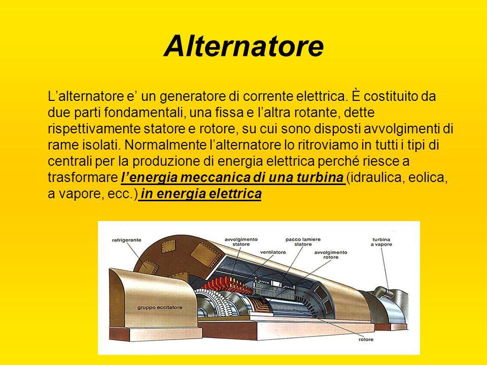 Alternatore L'alternatore e' un generatore di corrente elettrica. È costituito da due parti fondamentali, una fissa e l'altra rotante, dette rispettiv