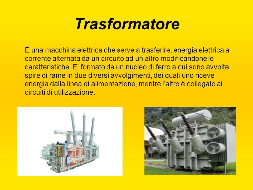 Trasformatore È una macchina elettrica che serve a trasferire, energia elettrica a corrente alternata da un circuito ad un altro modificandone le cara