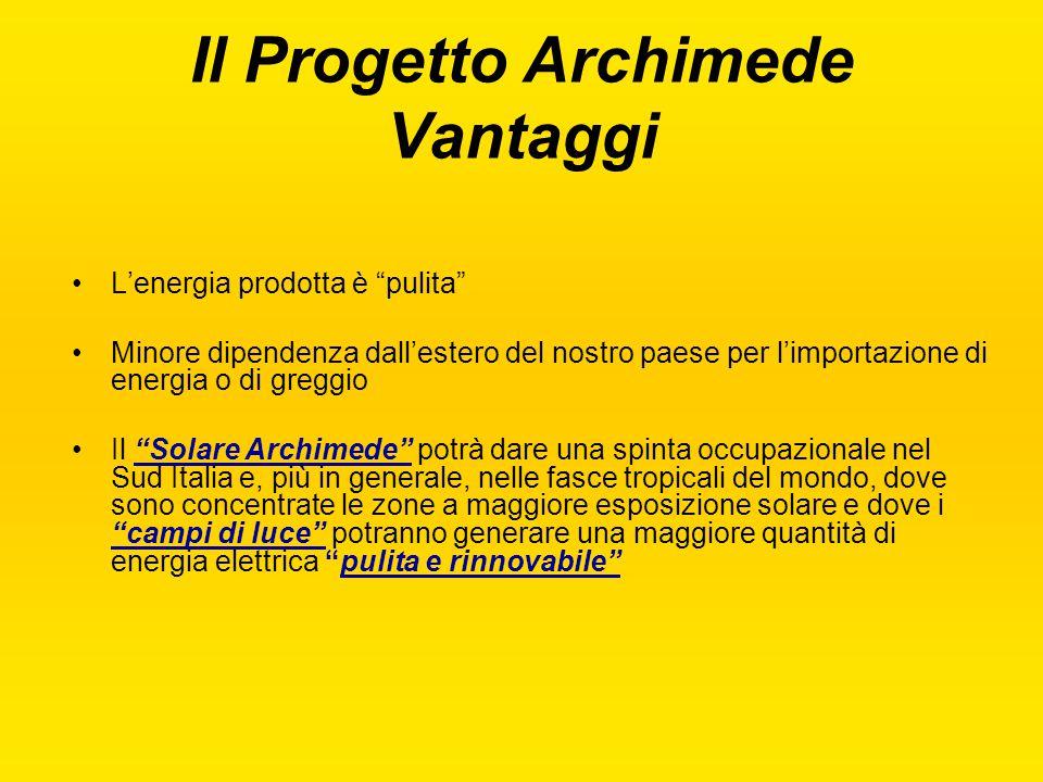 """Il Progetto Archimede Vantaggi L'energia prodotta è """"pulita"""" Minore dipendenza dall'estero del nostro paese per l'importazione di energia o di greggio"""