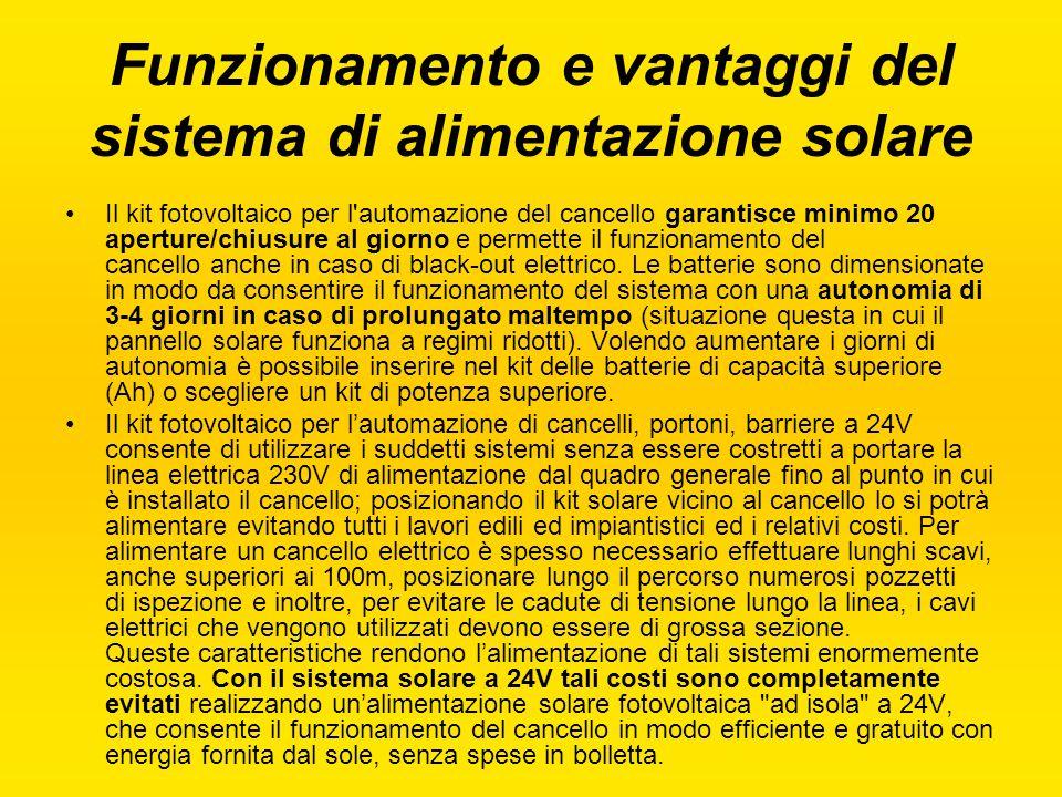 Funzionamento e vantaggi del sistema di alimentazione solare Il kit fotovoltaico per l'automazione del cancello garantisce minimo 20 aperture/chiusure