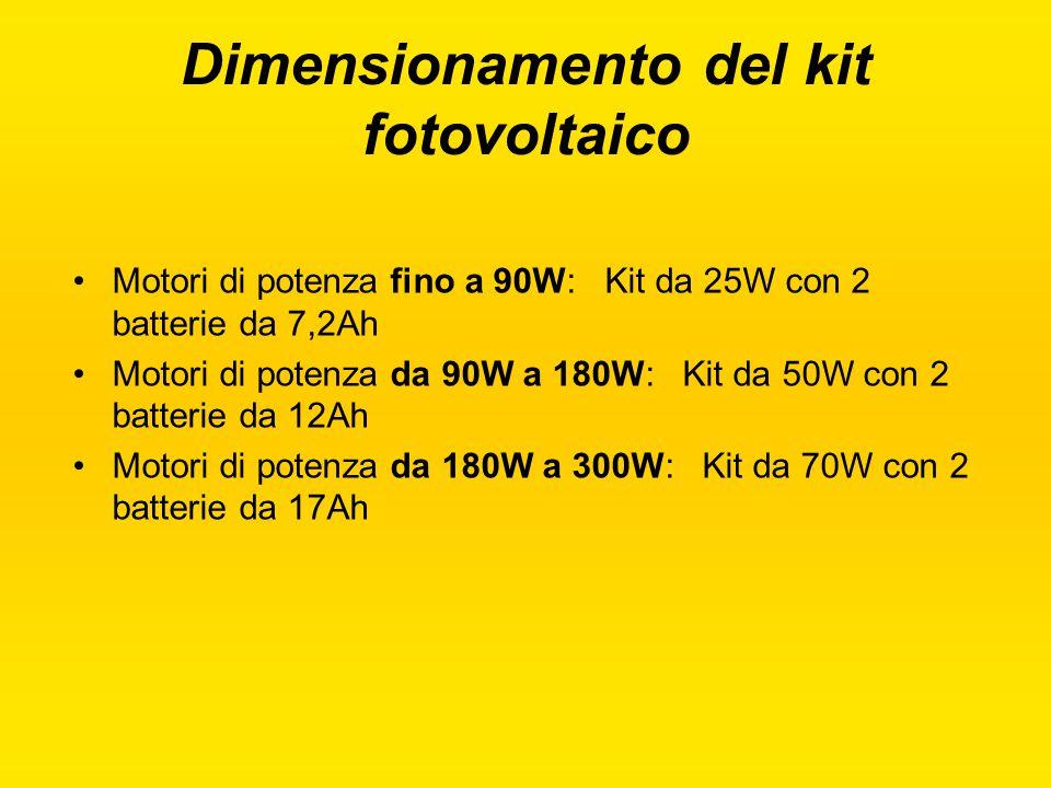 Dimensionamento del kit fotovoltaico Motori di potenza fino a 90W: Kit da 25W con 2 batterie da 7,2Ah Motori di potenza da 90W a 180W: Kit da 50W con