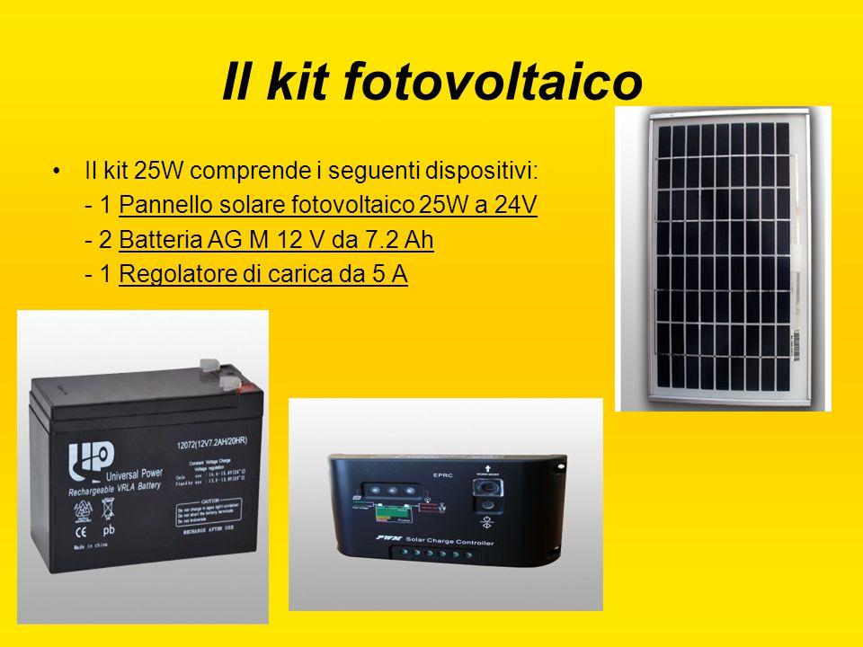Il kit fotovoltaico Il kit 25W comprende i seguenti dispositivi: - 1 Pannello solare fotovoltaico 25W a 24V - 2 Batteria AG M 12 V da 7.2 Ah - 1 Regol