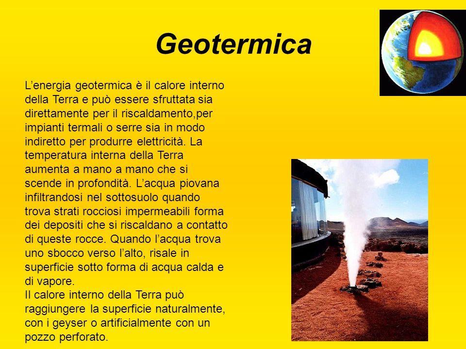 Geotermica L'energia geotermica è il calore interno della Terra e può essere sfruttata sia direttamente per il riscaldamento,per impianti termali o se