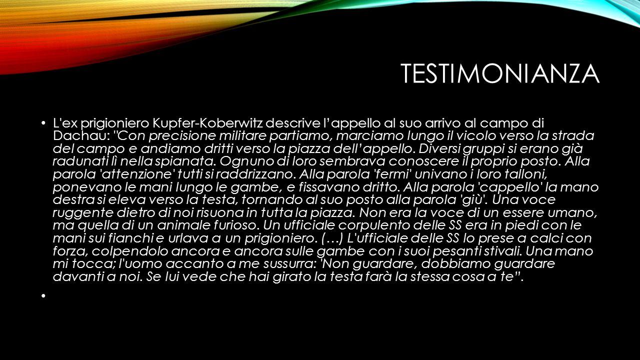 TESTIMONIANZA L'ex prigioniero Kupfer-Koberwitz descrive l'appello al suo arrivo al campo di Dachau: