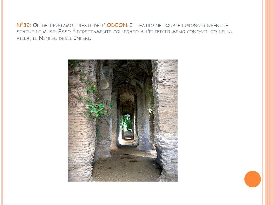 N°32: O LTRE TROVIAMO I RESTI DELL ' ODEON. I L TEATRO NEL QUALE FURONO RINVENUTE STATUE DI MUSE. E SSO È DIRETTAMENTE COLLEGATO ALL ' EDIFICIO MENO C