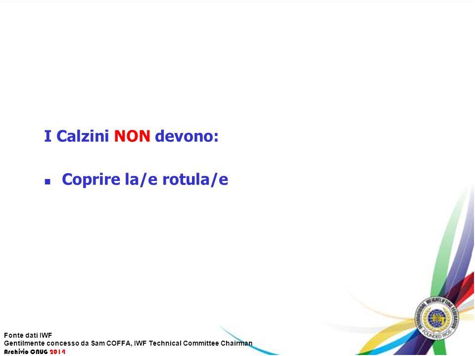 I Calzini NON devono: Coprire la/e rotula/e Fonte dati IWF Gentilmente concesso da Sam COFFA, IWF Technical Committee Chairman Archivio CNUG 2014