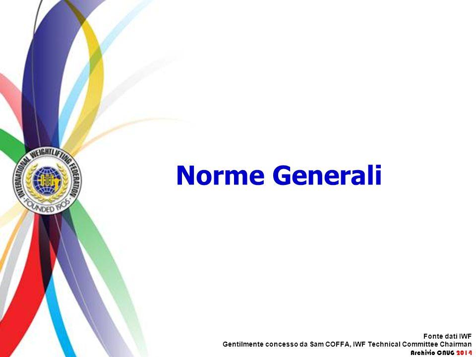 Norme Generali Fonte dati IWF Gentilmente concesso da Sam COFFA, IWF Technical Committee Chairman Archivio CNUG 2014