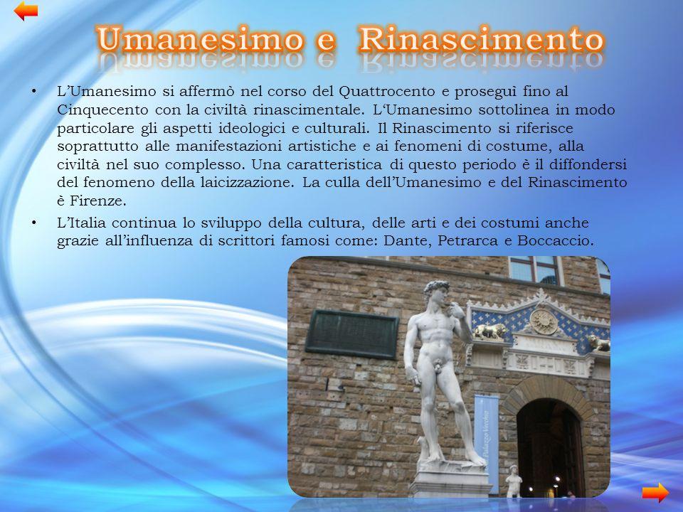 L'Umanesimo si affermò nel corso del Quattrocento e proseguì fino al Cinquecento con la civiltà rinascimentale. L'Umanesimo sottolinea in modo partico