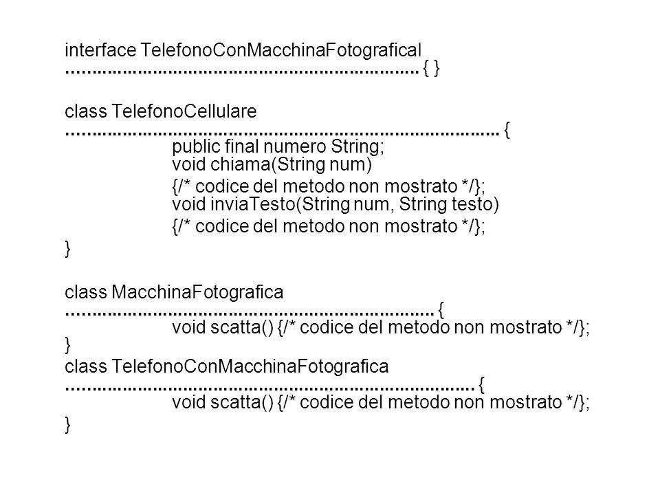 interface TelefonoConMacchinaFotograficaI...................................................................... { } class TelefonoCellulare...........