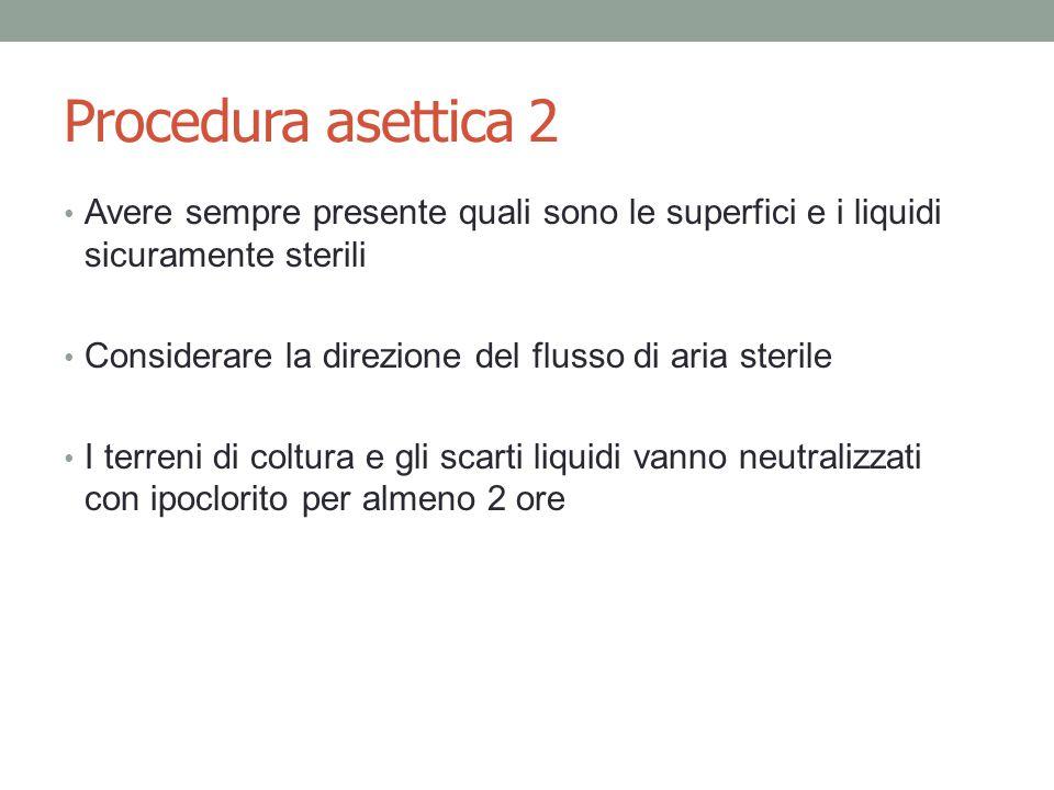 Procedura asettica 2 Avere sempre presente quali sono le superfici e i liquidi sicuramente sterili Considerare la direzione del flusso di aria sterile