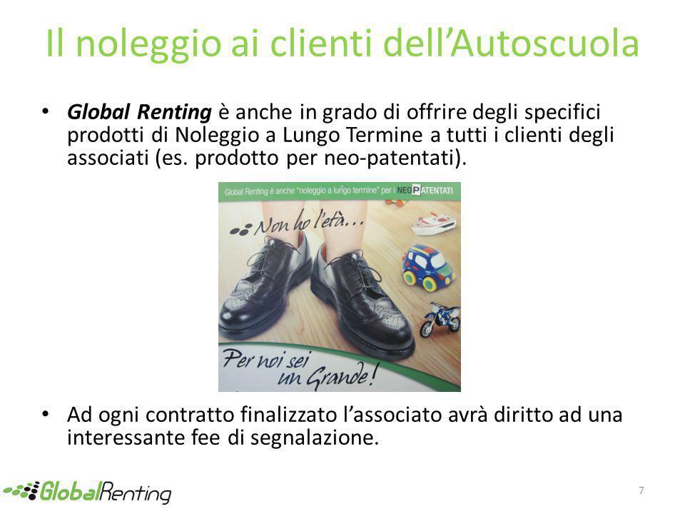 Il noleggio ai clienti dell'Autoscuola Global Renting è anche in grado di offrire degli specifici prodotti di Noleggio a Lungo Termine a tutti i clienti degli associati (es.