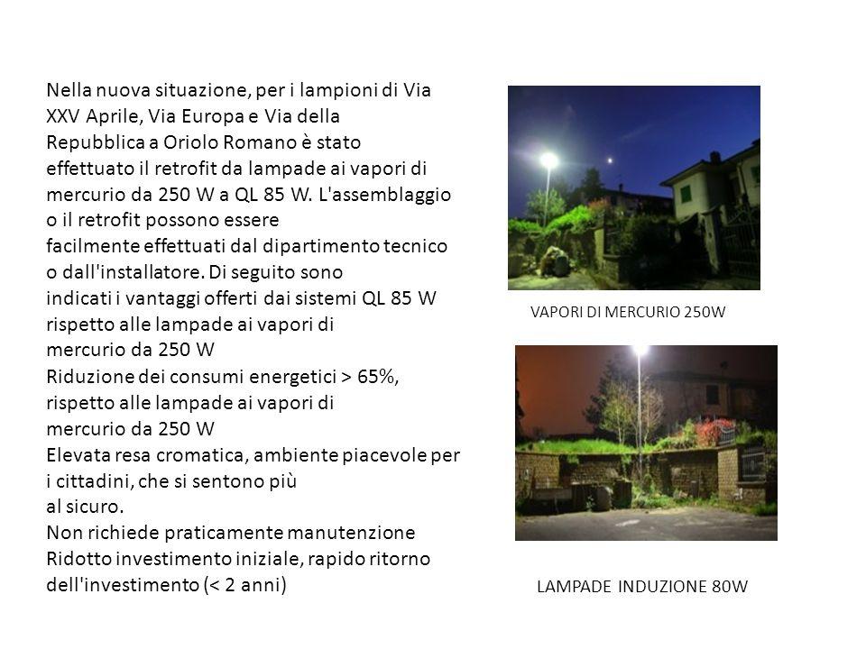 Nella nuova situazione, per i lampioni di Via XXV Aprile, Via Europa e Via della Repubblica a Oriolo Romano è stato effettuato il retrofit da lampade