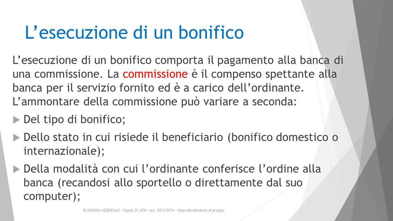 L'esecuzione di un bonifico L'esecuzione di un bonifico comporta il pagamento alla banca di una commissione.