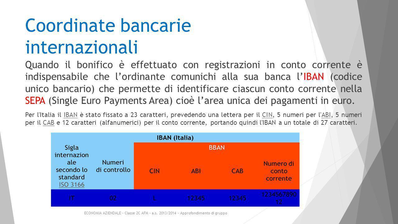 Coordinate bancarie internazionali Quando il bonifico è effettuato con registrazioni in conto corrente è indispensabile che l'ordinante comunichi alla sua banca l'IBAN (codice unico bancario) che permette di identificare ciascun conto corrente nella SEPA (Single Euro Payments Area) cioè l'area unica dei pagamenti in euro.