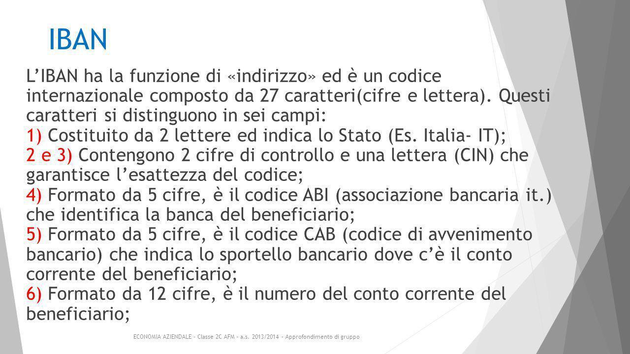 IBAN L'IBAN ha la funzione di «indirizzo» ed è un codice internazionale composto da 27 caratteri(cifre e lettera).