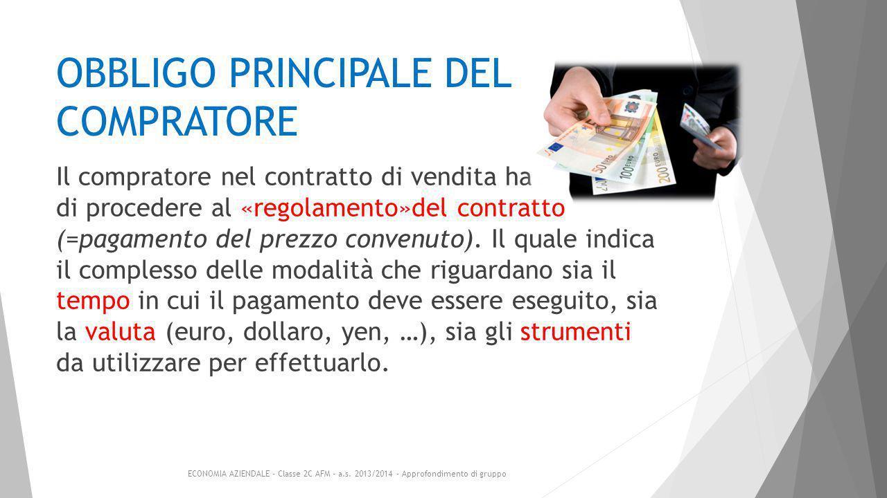 OBBLIGO PRINCIPALE DEL COMPRATORE Il compratore nel contratto di vendita ha l'obbligo di procedere al «regolamento»del contratto (=pagamento del prezzo convenuto).