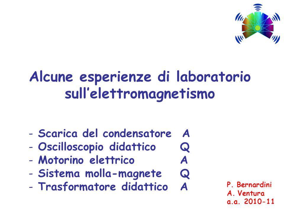 Alcune esperienze di laboratorio sull'elettromagnetismo - Scarica del condensatore A - Oscilloscopio didattico Q - Motorino elettrico A - Sistema molla-magnete Q - Trasformatore didattico A P.