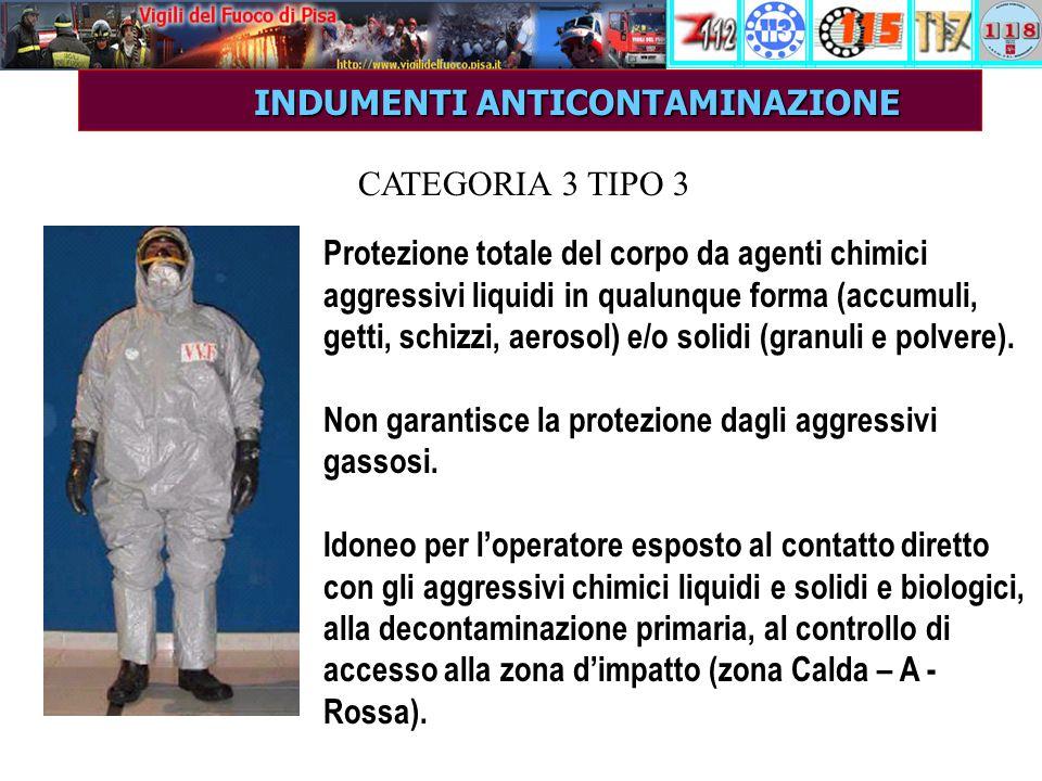 INDUMENTI ANTICONTAMINAZIONE INDUMENTI ANTICONTAMINAZIONE Protezione totale del corpo da agenti chimici aggressivi liquidi in qualunque forma (accumuli, getti, schizzi, aerosol) e/o solidi (granuli e polvere).