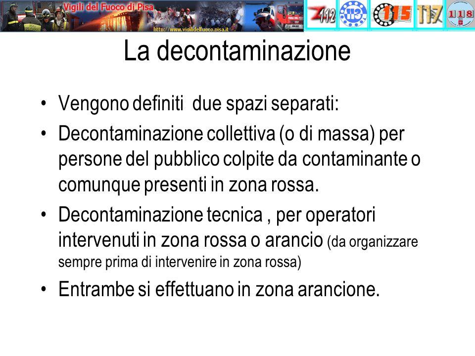 La decontaminazione Vengono definiti due spazi separati: Decontaminazione collettiva (o di massa) per persone del pubblico colpite da contaminante o comunque presenti in zona rossa.