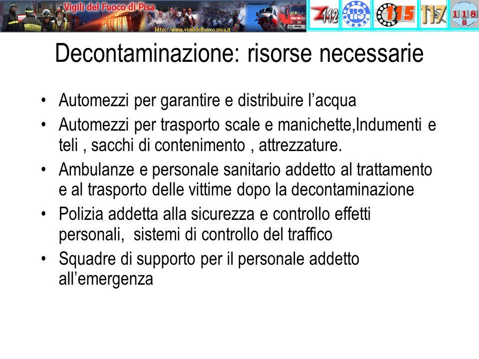Decontaminazione: risorse necessarie Automezzi per garantire e distribuire l'acqua Automezzi per trasporto scale e manichette,Indumenti e teli, sacchi