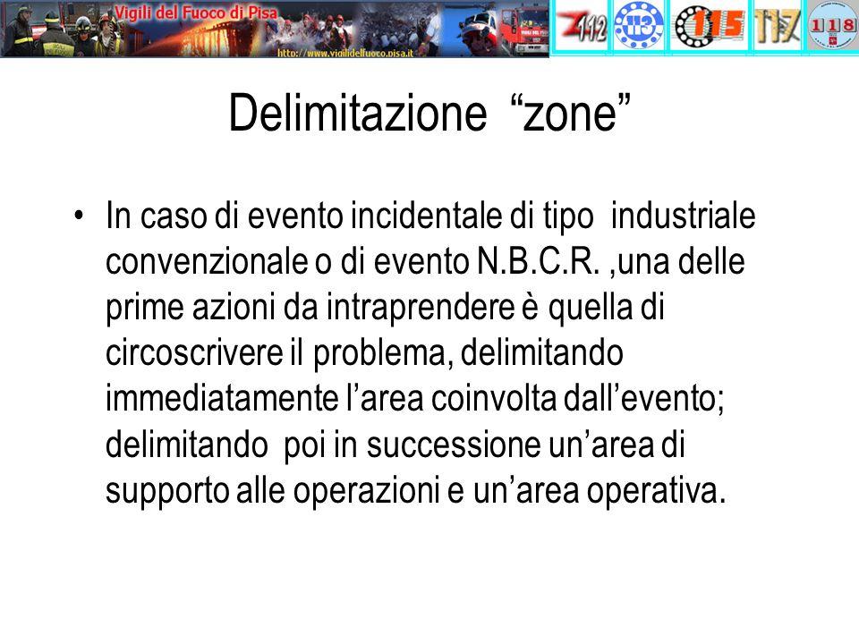 Delimitazione zone In caso di evento incidentale di tipo industriale convenzionale o di evento N.B.C.R.,una delle prime azioni da intraprendere è quella di circoscrivere il problema, delimitando immediatamente l'area coinvolta dall'evento; delimitando poi in successione un'area di supporto alle operazioni e un'area operativa.