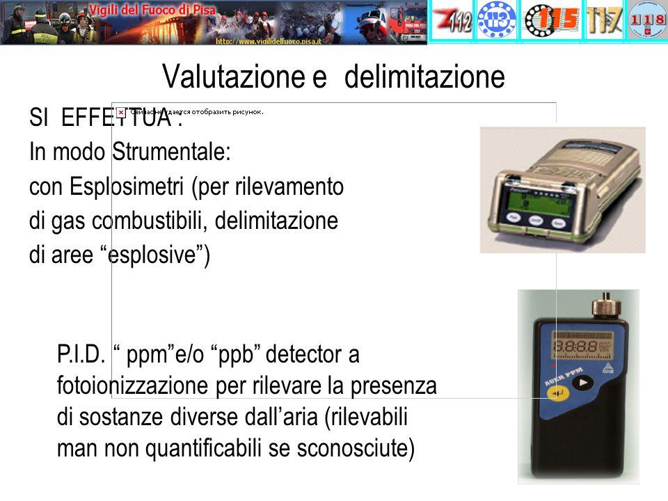 Valutazione e delimitazione SI EFFETTUA : In modo Strumentale: con Esplosimetri (per rilevamento di gas combustibili, delimitazione di aree esplosive ) P.I.D.